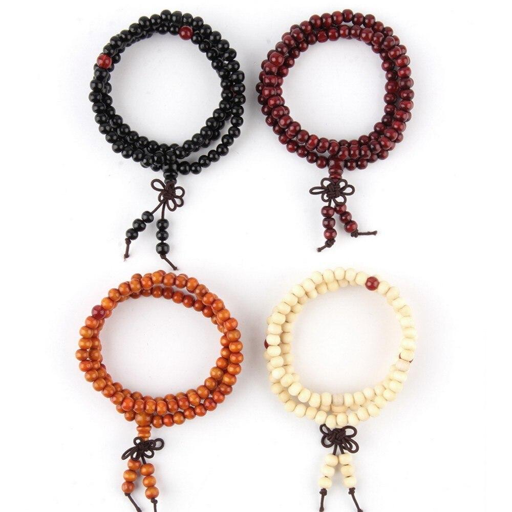 6mm Natural Sandalwood Buddhist Buddha Meditation 108 beads Wood Prayer Bead Mala Bracelet Women Men jewelry
