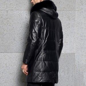 Image 4 - الرجال الشتاء الدافئة جلد طبيعي أسود أعلى درجة جلد الخراف الثعلب الفراء مقنعين بطة أسفل سترة معطف deri ceket jaqueta de couro LT2442