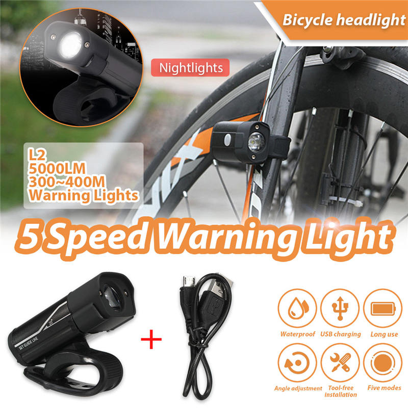 Mising 3.7V 350 lumens USB Charging Headlight Bicycle Headlamp Portable Waterproof Bike Flashlight for Ourdoor Cycling Spotlight