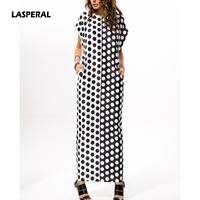 LASPERAL Plus Size Boho Summer Dress Short Sleeve O Neck Long Maxi Dress Black White Polka