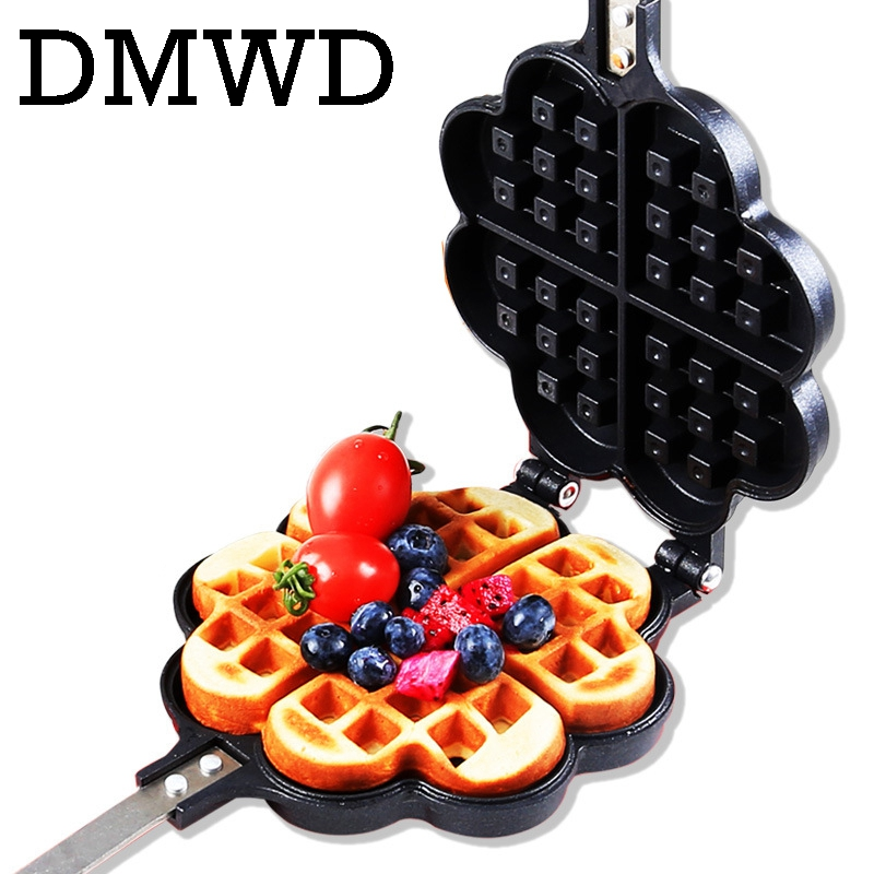 DMWD DIY Heart Shape Non-stick Eggs Waffle Pan For Gas Electric Muffin Machine Omelet Egg Pancake Mould Baked Cake Baking Mold iron teflon non stick coating 12 in 1 muffin cup cake diy mold black