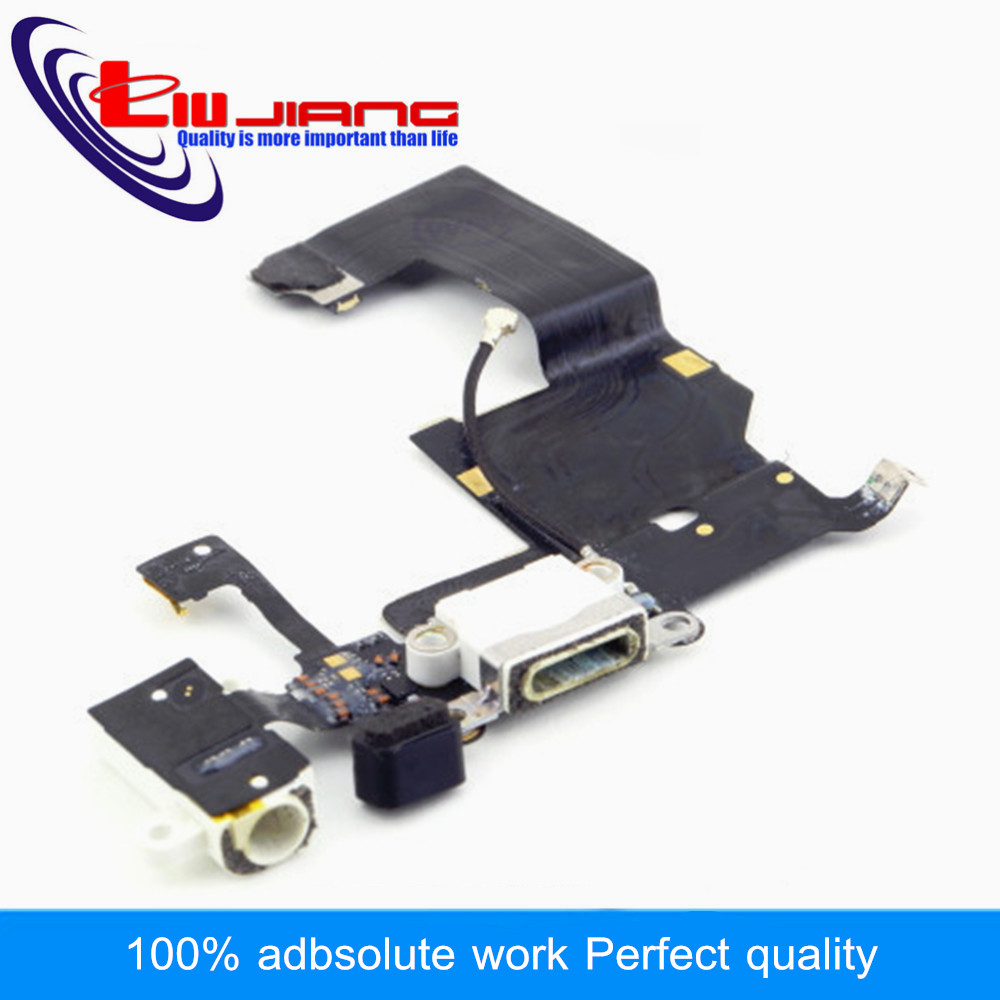 Liujiang Original Dock Connector USB Charging Port For iPhone 5 5G with Headphone Jack Tail Plug Flex Cable Replacement parts