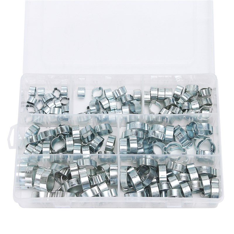 MTGATHER 140PCS Assorted Double Ear O Clips Steel Zinc Plated Hydraulic Hose Fuel Clamps 50 pieces metric m4 zinc plated steel countersunk washers 4 x 2 x13 8mm