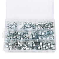 MTGATHER 140PCS Assorted Double Ear O Clips Steel Zinc Plated Hydraulic Hose Fuel Clamps
