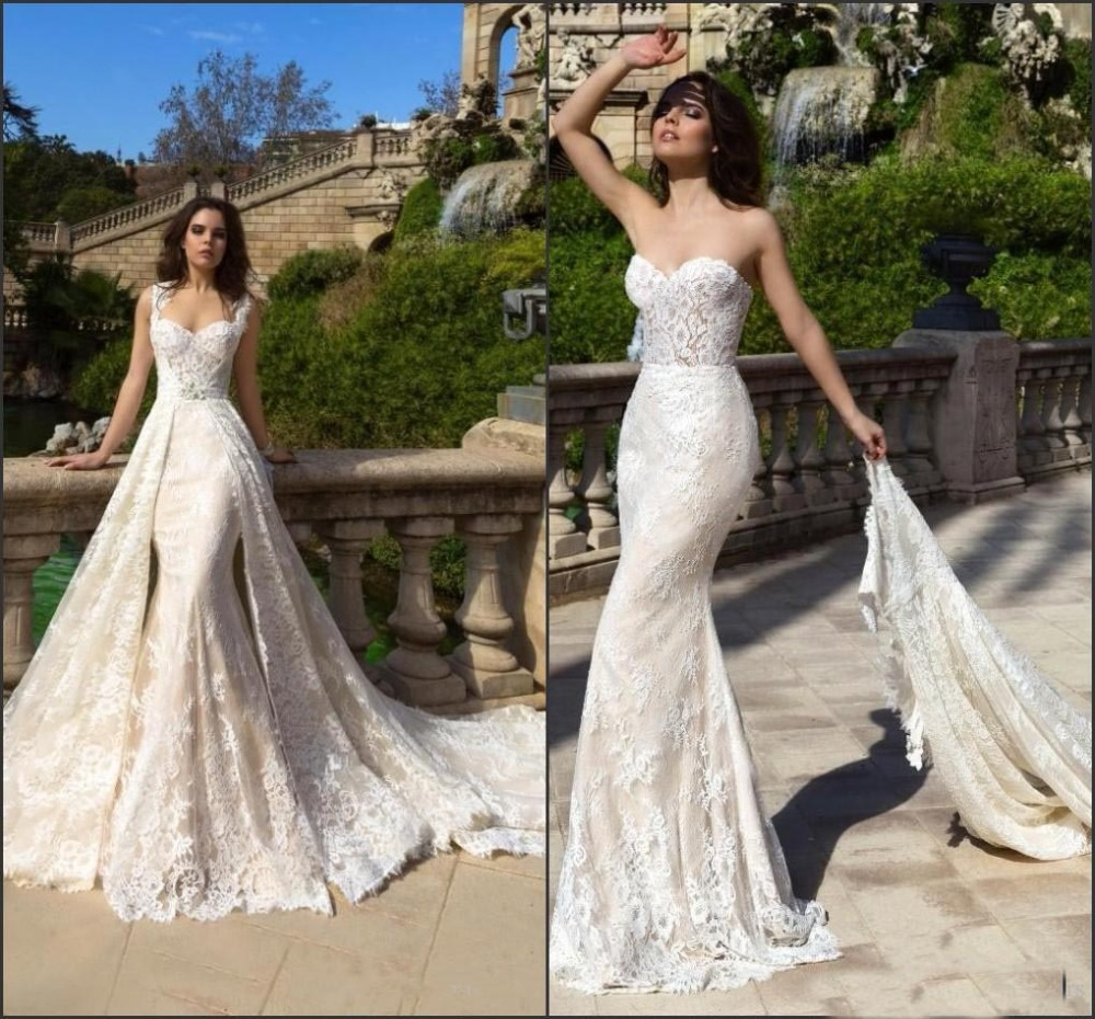 2019 Modern Champagne Wedding Dress With Detachable Train -7778