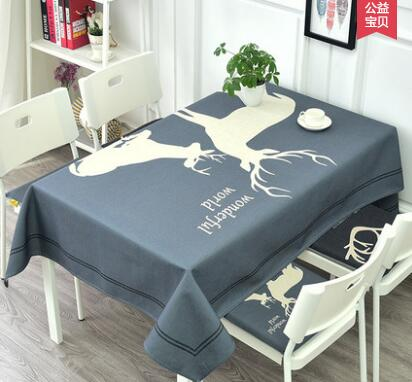 Cotton and Linen Restaurant Tablecloth Nordic Elk Deer Long Table Covers Thick Fabric Household Rectangular Cloth