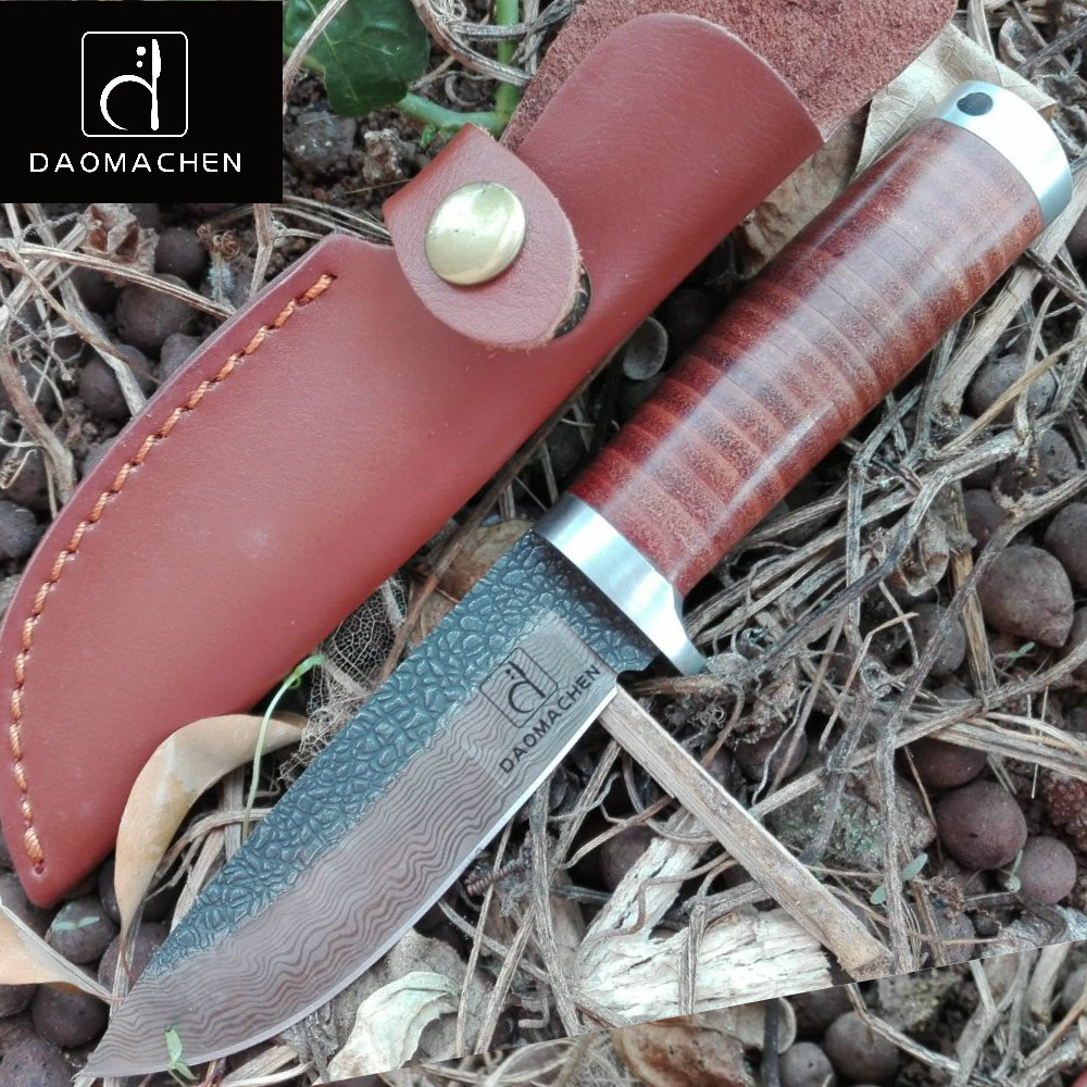 DAOMACHEN Hunting Knife camping Full Tang Knife Pure hand forged steel blade outdoor Fix blade knife farm hand forged spring steel sickle king chai sickle weeding knife grinding the blade free firewood