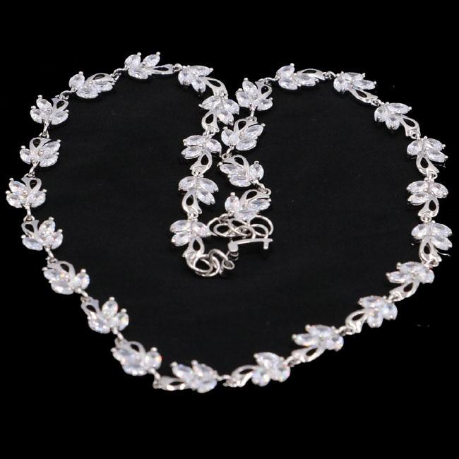Magnifique 23.3g Blanc Saphir De Mariage Femme de 925 Argent Colliers 18-18.5