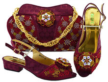ba42c53f914 Sandal shoe and bag clutches wine red african aso ebi wedding party shoes  and bag set free shipping by DHL shoes bag SB8216-4