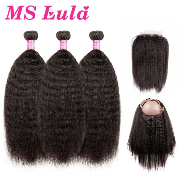 Ms Lula Hair Brazilian Kinky Straight Hair Weave with 360 Lace Frontal 3 Bundles with Closure 100% Natural Black Remy Hair Weft