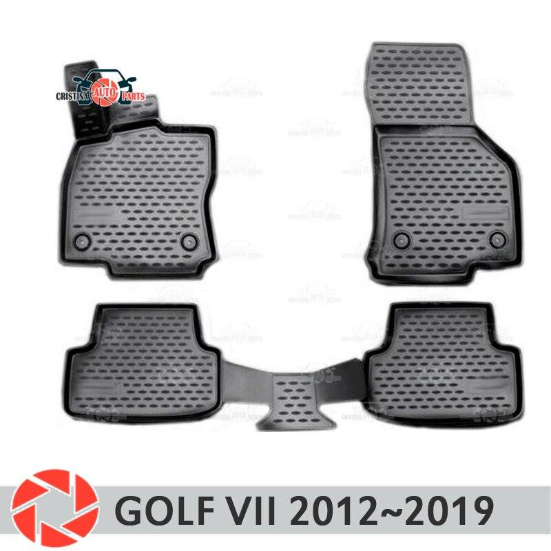 Alfombras de piso para Volkswagen Golf 7 2012 ~ 2019 alfombras antideslizantes de poliuretano tierra protección interior estilo de coche accesorios