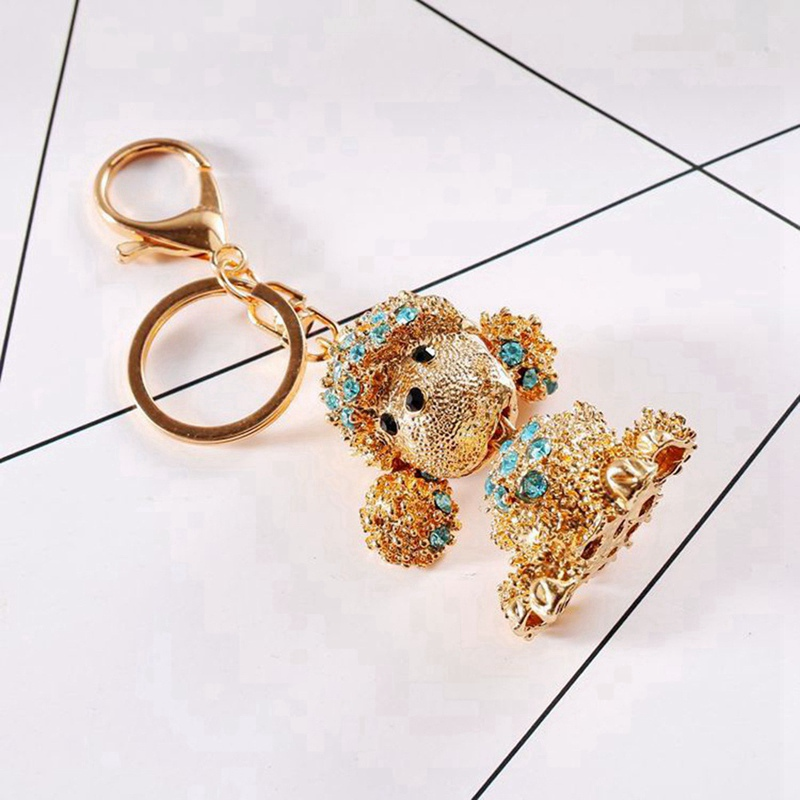 Dog Butterfly Cute Keychain Crystal Charm Purse Handbag Car Key Keyring Keychain Party Wedding Birthday Gift