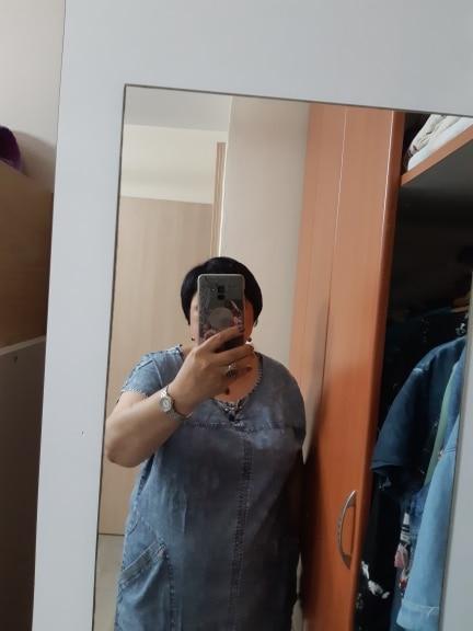 Summer Ladies Plus Size Denim Dress For Women Clothes Round Neck Pockets Elegant  4Xl 5Xl 6Xl Large Size Party Dress photo review