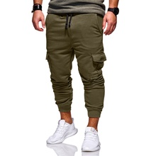PADEGAO mens cotton solid Sportswear trousers Casual Elastic Fitness Workout Pants ankle length pencil pants Jogger Sweatpants