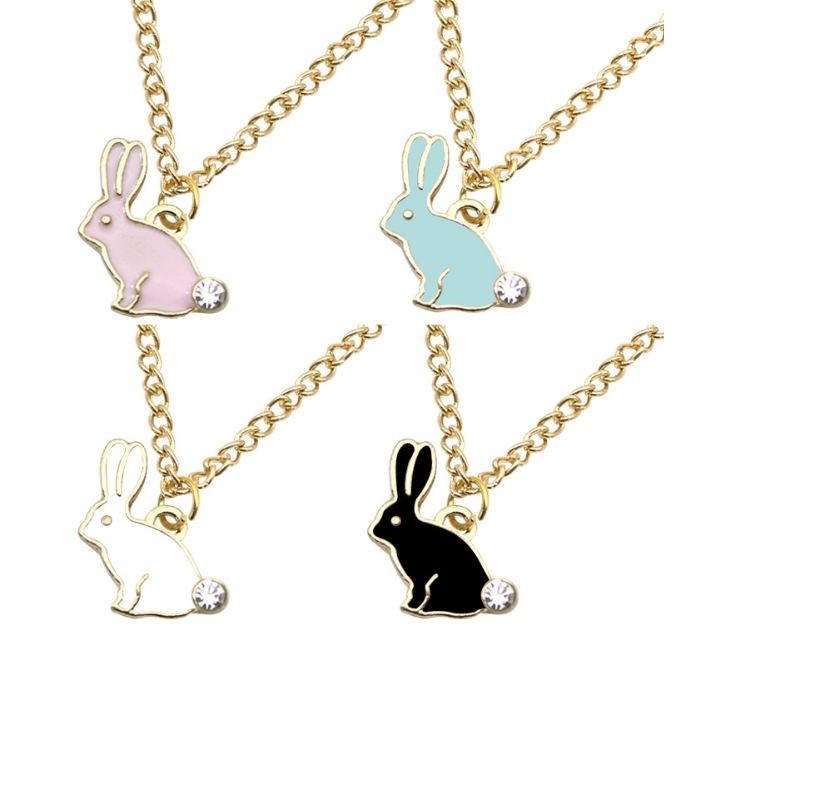 Fashion Jewelry Rhinestone Cute Rabbit Bunny Animal Pendant Necklace Chain