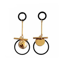 Round stud earrings Asymmetric geometry and collars Golden The girl deserve to act the role of party