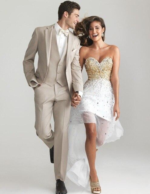 Индивидуальные Женихи для мужчин Нотч Жених смокинги для женихов шампанское костюмы Свадебные Best Man блейзер (куртка + брюки