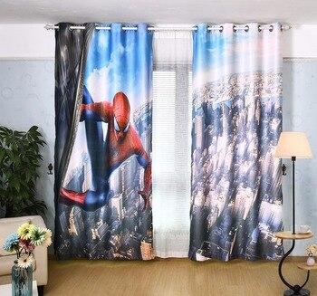 2x Window Drapery Nursery Kids Children Room Curtain Window Dressing Tulle Covering 200x260cm Spider Hero Man