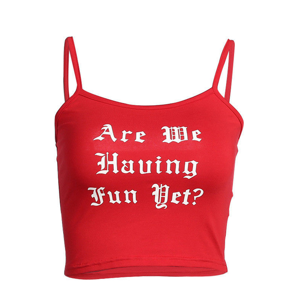 2017 Fashion Letter Print Camisole Red Knitted Crop Top Women Slim Tank Tops Female Strap Sexy Vest Bustier Shirt