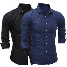 2017 Newest Black Blue Fashion Classic Men Turn-down Collar Long Sleeve Shirt Dark Embosse