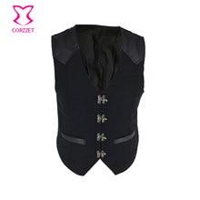Retro Vintage Mens Vest Waistcoat Gothic Steampunk Victorian Rock Punk Black V-neck Sleeveless Jacket Waistcoats Party Suit