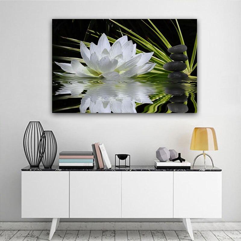 Настенная живопись, холст, цветок лотоса, картина, современное искусство, черный камень, печать для гостиной, без рамки, домашний декор