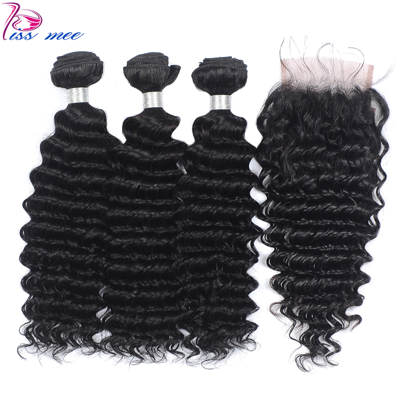Kiss Mee Deep Wave Human Hair Bundles With Lace Closure Deep Curly 3 Bundles With Closure Baby Hair Remy Brazilian Hair Weave