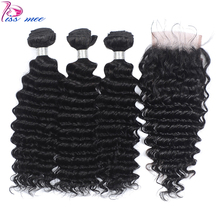 Kiss Mee Deep Wave Human Hair Bundles With Lace Closure Curly 3 Baby Remy Brazilian Weave