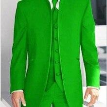 На заказ женихи, мужчины с отворотом жениха смокинги зеленые мужские костюмы Свадебный лучший мужской блейзер(пиджак+ брюки+ жилет+ галстук