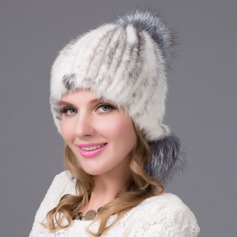 2017 mink and fox fur ball cap pom poms winter hat for women girl 's hat knitted beanies cap brand new thick female cap fetsbuy mink fur ball cap gray pom poms winter hat for women girl s wool hat knitted cotton beanies cap brand thick female cap