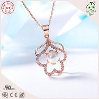 Charming Good Quality Elegant Silver Jewelry Gifts Gardenia Pendant With Pearl 925 Real Silver Necklace For Woman