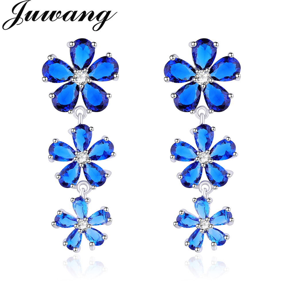 Sweety fleur cubique zircone boucles d'oreilles de mariage pour les femmes Micro pavé goutte d'eau longue bijoux cadeau 6