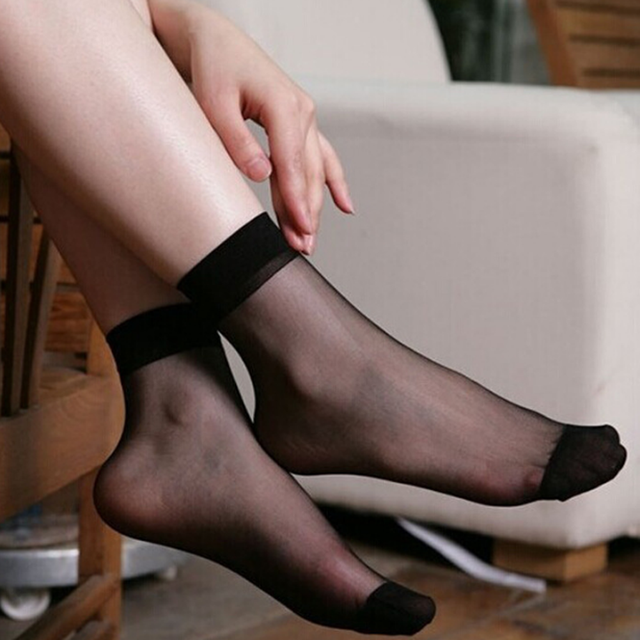 Summer Sexy Ultrathin Transparent Crystal Silk Socks for Women High Elastic Black Nylon Short Socks Female Socks