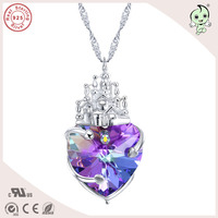 Hotsale Top Quality Beautiful Shinning Purple Famous Crystals Love Castle Theme 925 Real Silver Heart Pendant Necklace For Lady