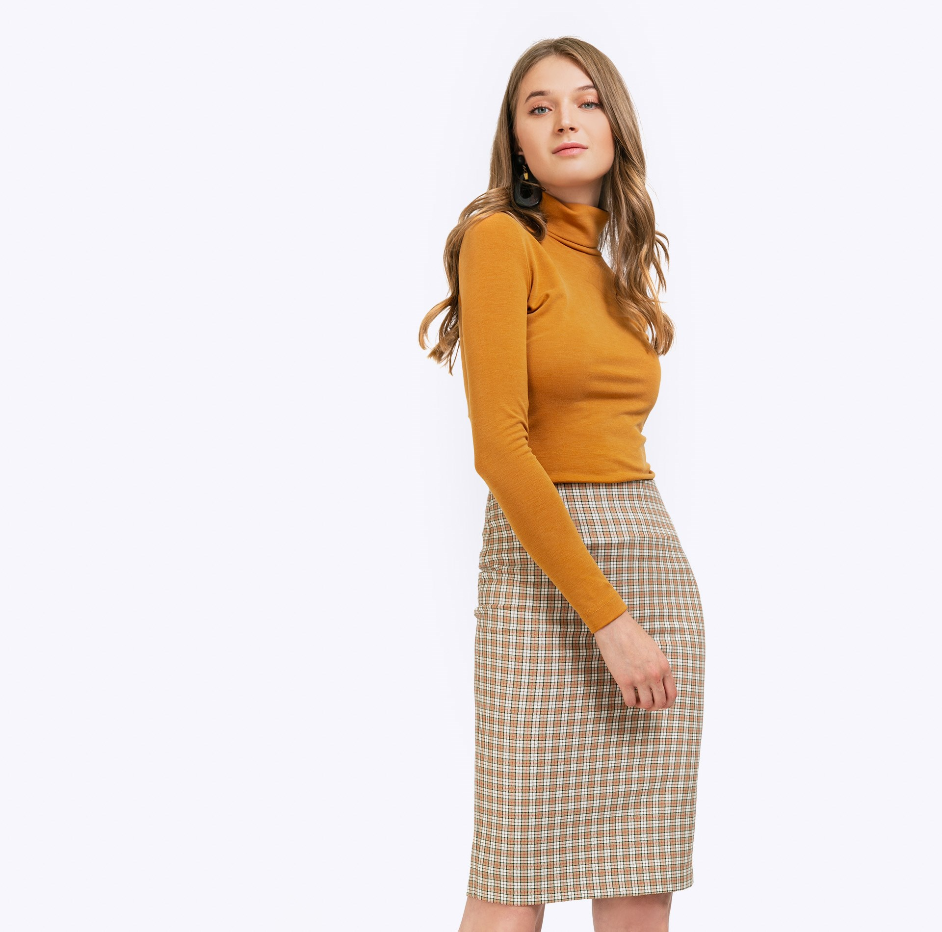 Skirt direct cut plaid plaid pencil skirt