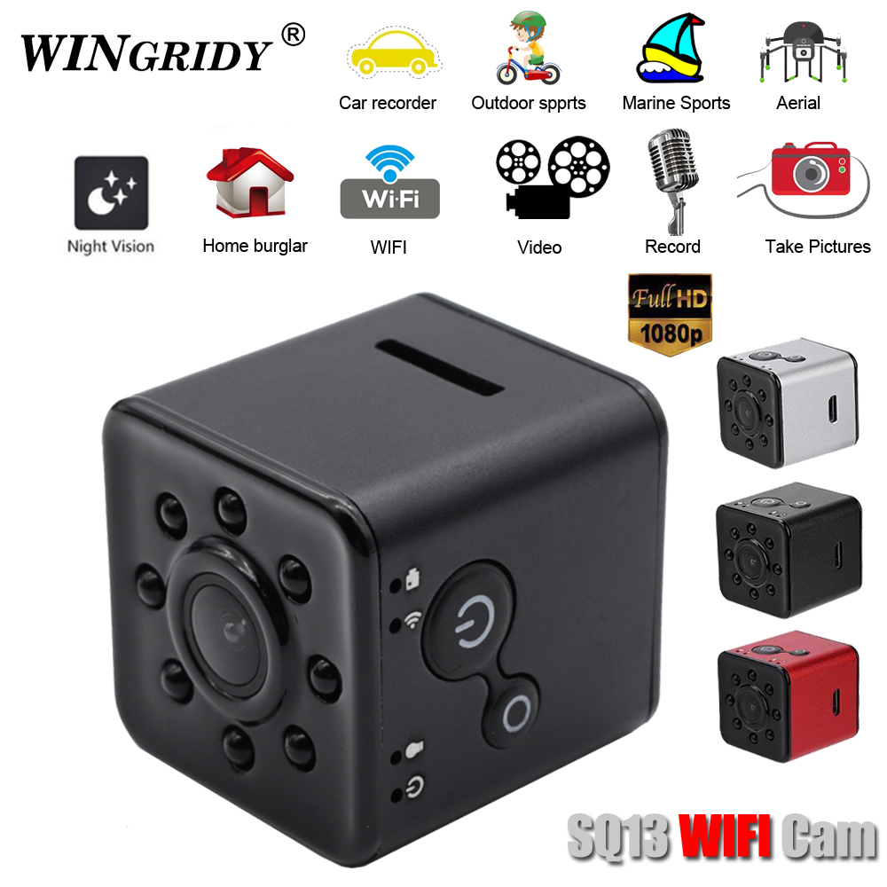 лучшая цена SQ13 Original Mini Camera WiFi Cam Full HD 1080P Sport DV Recorder 155 Night Vision Small Action Camera Camcorder DVR pk sq12 11