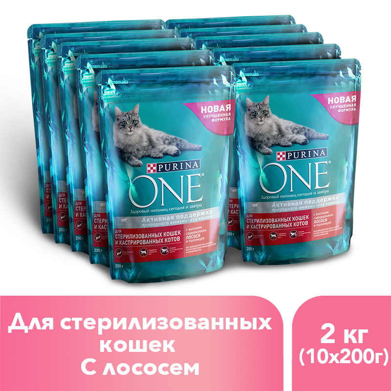 Dry feed Purina ONE for sterilised cats and cats with salmon and wheat, package, 2 kg. gorgeous 50cm length golden thick braided wheat chain necklace for men