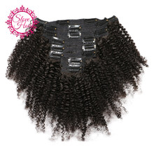Afro Kinky Curly Clip In Human Hair Extensions Remy Mongolian Human Hair Weave Bundles Natural Color 8Pcs/Set 120G Slove(China)