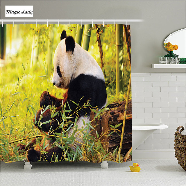 Shower Curtain Green Bathroom Accessories Panda Forest Of Bamboo Trees Foliage Wilderness Black White 180 200 Cm
