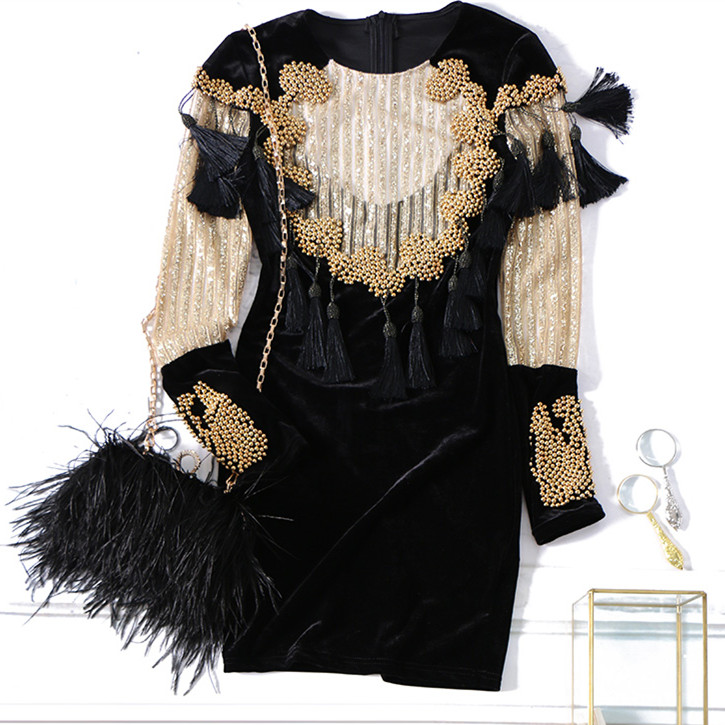Luxury 2018 Shiny Heavy Golden Beading Tassels Mini Velour Vintage Dress Women Party Sexy Mini Club Theath Runway Clothing NS691