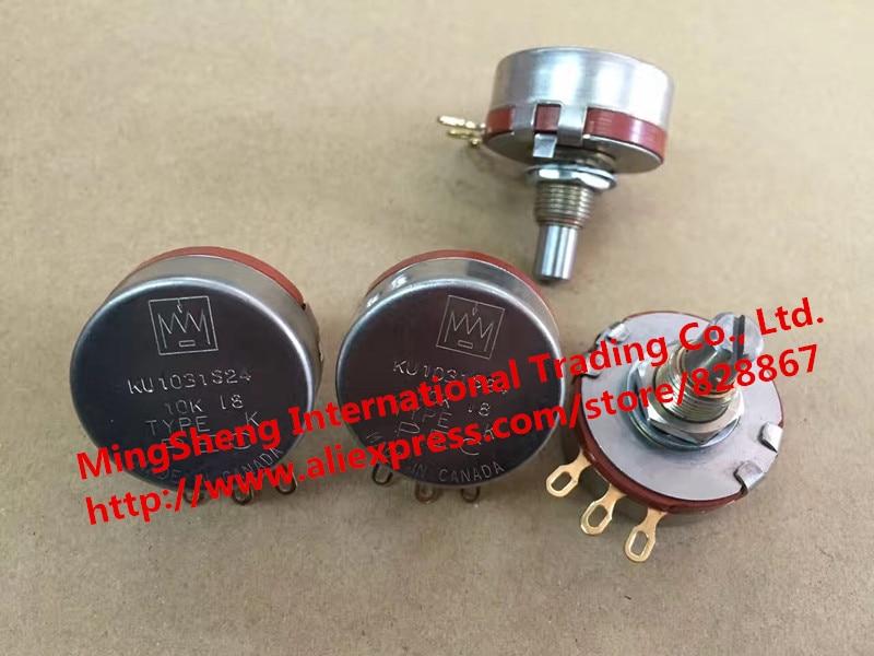 Original new 100% Canada KU1031S24 10K single potentiometer gold plated feet (SWITCH) fader potentiometer linear sensor chip feet 10k 23mm