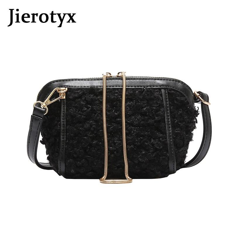 JIEROTYX Shell Bag Women Small Shoulder Black Winter Wool Chains Fashion Punk Messenger Bags Lady Zipper Drop Shipping