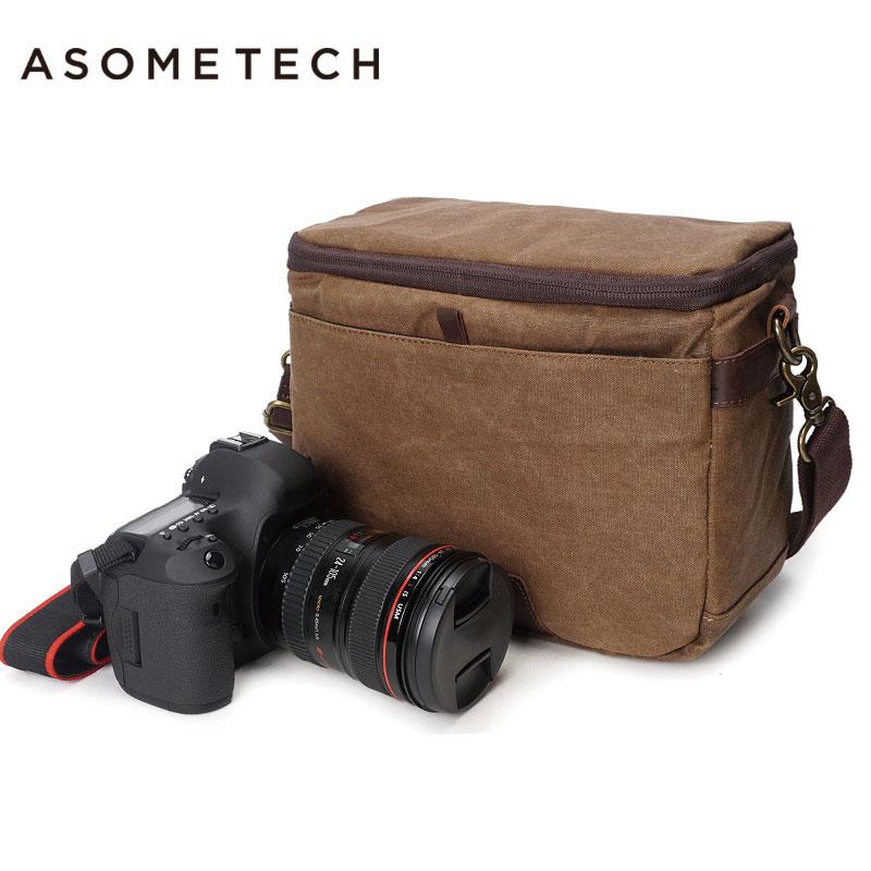 GOOD Quality Professional DSLR Canvas Camera Bag Travel Photo Bag Single Shoulder Backpack for Sony Canon Nikon Olympus
