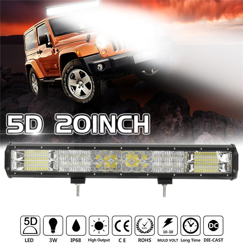 5D 20 Inch 408W LED Work Light Bar Flood Spot Combo Offroad Driving Lamp Waterproof 6000K For SUV ATV Car Truck Boat tripcraft promotion 20 inch 60w crees led single row work light bar spot flood combo offroad driving lamp suv atv 10v 30v
