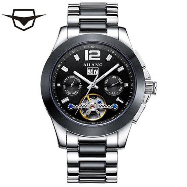 04625abf121 Marca de luxo da Marca Homens Relógio AILANG Assistir Moonphase Safira Aço  Inoxidável Mecânico Automático de Alarme à prova d  água Relógio Masculino