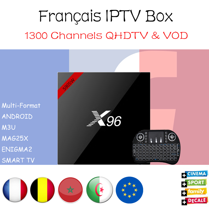X96 French IPTV Amlogic S905W 4k Android 7.1 TV Box with 1600+ French Belgium Morocoo Arabic IPTV Amlogic S905W Set Top Box konad french set