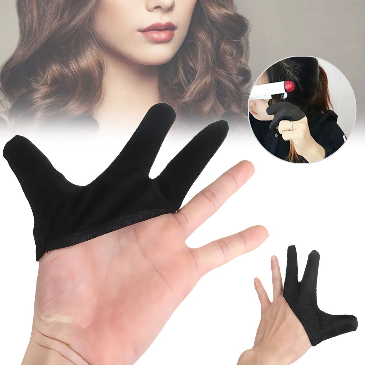 Hairdressing 3 Finger Heat-Resistant Barber Tools Glove Black Finger Glove Salon Styling Tools For Hair Straightening Curling