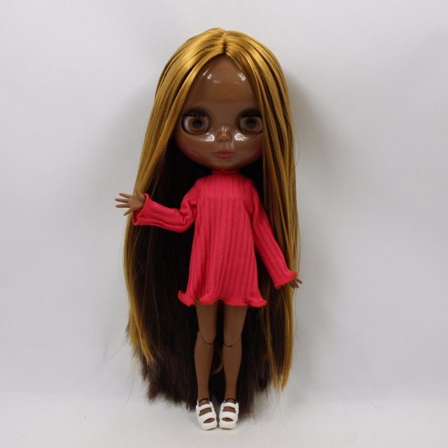 Factory Neo Blythe Doll Straight Golden Brown Hair Jointed Body 30cm