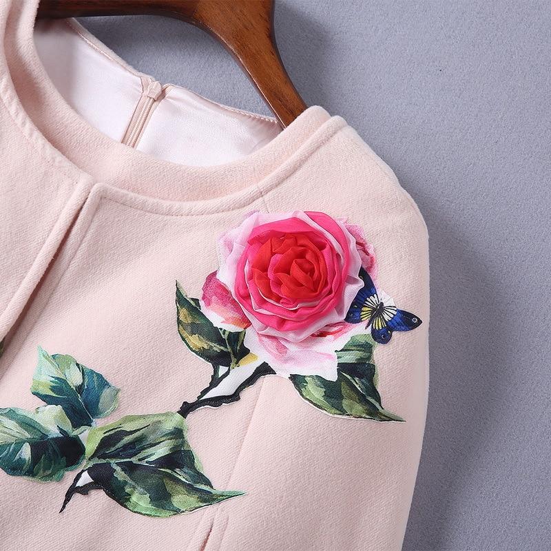 Robe 2018 Automne Marque Fleurs The Broderie Laine Style Rose Et Manteaux Manteau As Piste De Même Gratuite Livraison Femmes Réservoir Picture Solide LpUSMqzVG