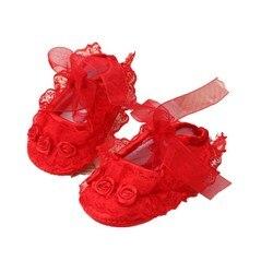 Обувь для новорожденных девочек с мягкой подошвой и шелковым цветком, Нескользящие кроссовки на шнуровке, обувь для девочек 0-12 м